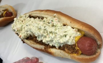 Pictured here is the house favorite at Hot Dog World, the slaw dog.