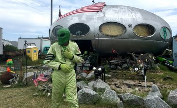 As the alien, Reynolds will talk to visitors. Children are particularly intrigued by this piece of outer space that seems to have descended right there in the Outer Banks.