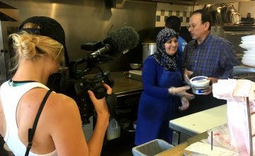 My Home, NC's Miriam McSpadden films Zakie and Gehad in their kitchen at International Delights.