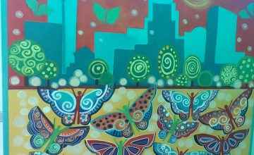 This mural by Rosalía Torres-Weiner depicts the Charlotte skyline and butterflies representing members of the Latino community coming to the city.