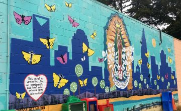 This mural by Rosalía Torres-Weiner features Our Lady of Guadalupe, to bring the community love and hope.